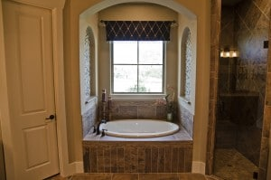 Custom bathroom built by Clear Rock Homes.